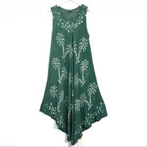 Advance Apparels Green Tie Dye Palm Boho Dress